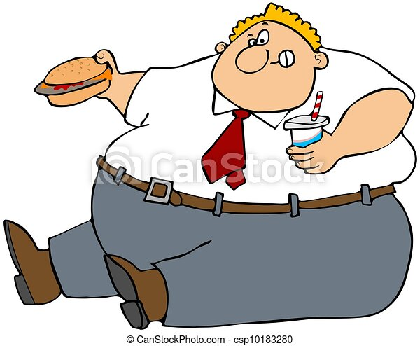 fat man eating junk food rh canstockphoto com Fat Guy Eating Cartoon Chinese Guy