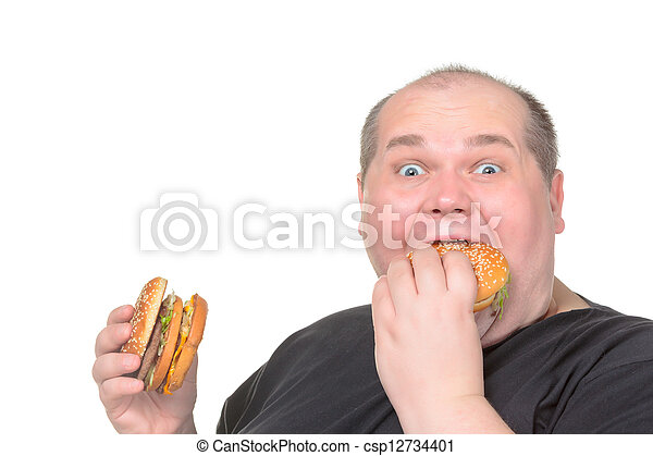 Fat Man Greedily Eating Hamburger - csp12734401