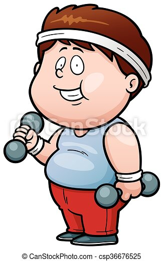 vector illustration of cartoon fat man holding dumbbells rh canstockphoto com  fat man on beach clipart