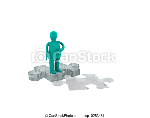fat man on puzzle figure - csp10253481