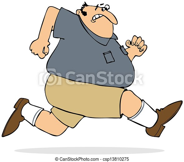 fat man sprinting rh canstockphoto com Fat Guy Silhouette short fat guy clipart
