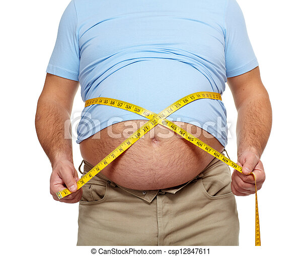 Fat man with a big belly. - csp12847611