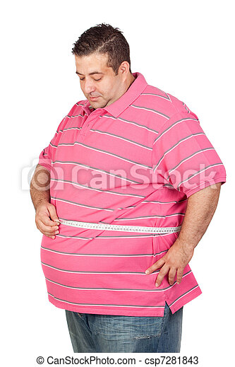 Fat man with a tape measure - csp7281843