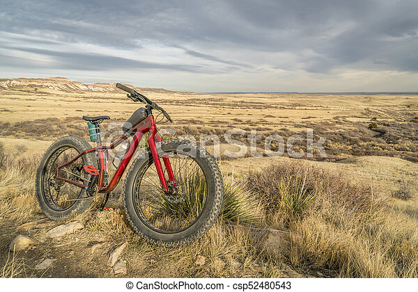 fat mountain bike on a trail in northern Colorado - csp52480543