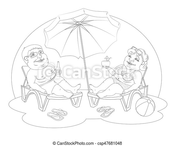 Fat People On The Beach Fat Man And Woman In Beach Suits Are On