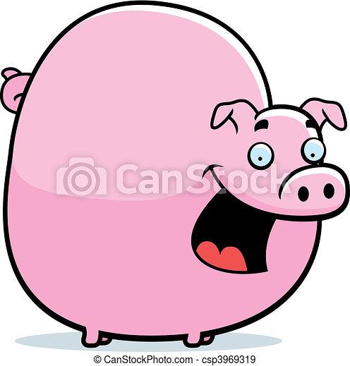 fat pig a happy cartoon pig standing and smiling eps vectors rh canstockphoto com sg fat pig cartoon pictures fat little pig cartoon