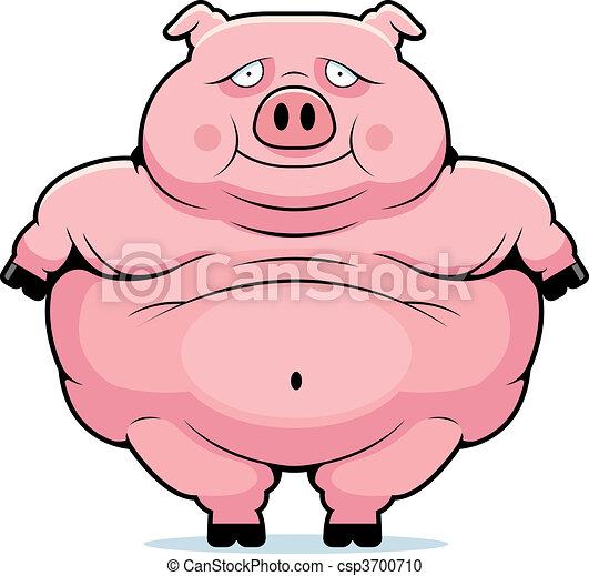 fat pig a happy cartoon fat pig standing and smiling rh canstockphoto com fat pink pig cartoon big fat pig cartoon