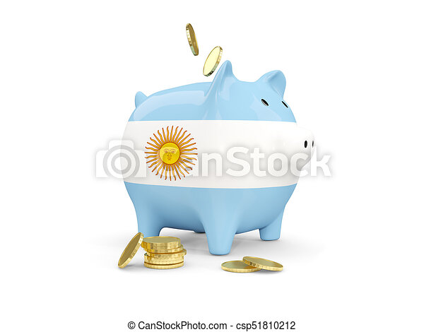 Fat piggy bank with fag of argentina - csp51810212