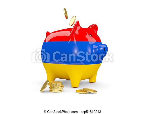 Fat piggy bank with fag of armenia - csp51810213