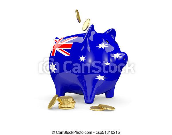 Fat piggy bank with fag of australia - csp51810215