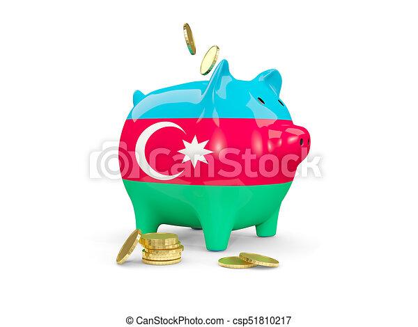 Fat piggy bank with fag of azerbaijan - csp51810217