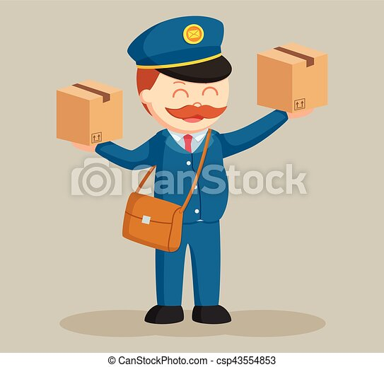 fat postman with two parcels - csp43554853
