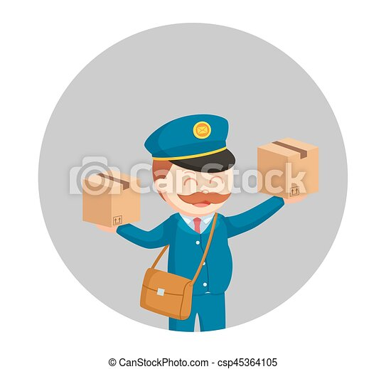 fat postman with two parcels in circle background - csp45364105