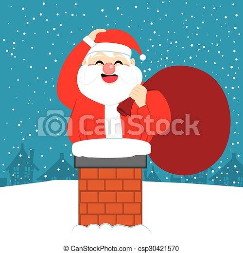 fat santa christmas chimney fat happy santa claus trying to enter