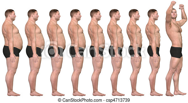 Fat to Fit Before After 3D Man Weight Loss Success - csp4713739