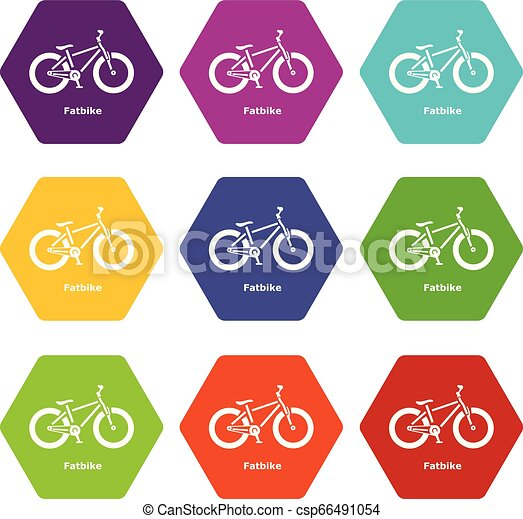 Fatbike icons set 9 vector - csp66491054