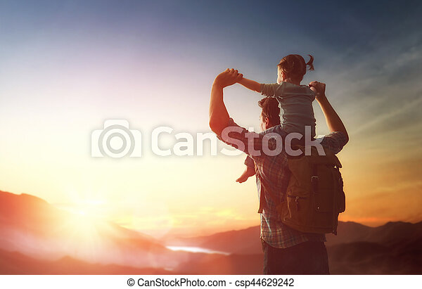 Father and baby at sunset - csp44629242