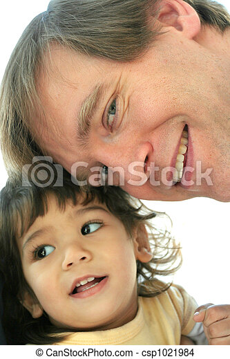 Father and child bonding. Loving father face to face with ...