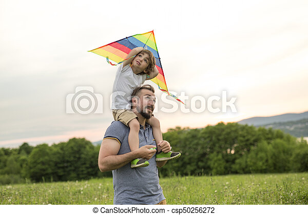 father and child on meadow with a kite in the summer - csp50256272