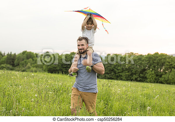 father and child on meadow with a kite in the summer - csp50256284
