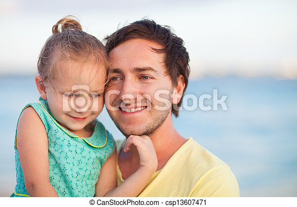 Father and daughter at sunset - csp13607471