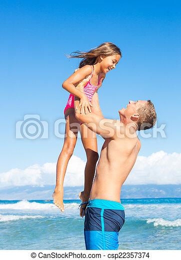Father and Daughter at the Beach - csp22357374