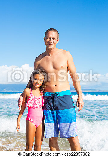 Father and Daughter at the Beach - csp22357362