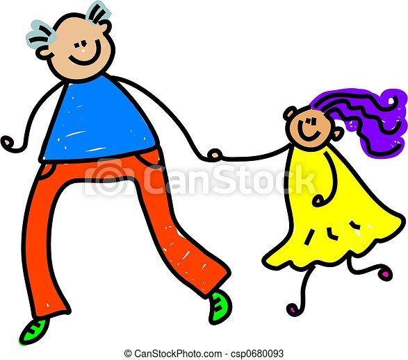 happy father and daughter holding hands toddler art series rh canstockphoto com father and daughter fishing clipart father and daughter hugging clipart