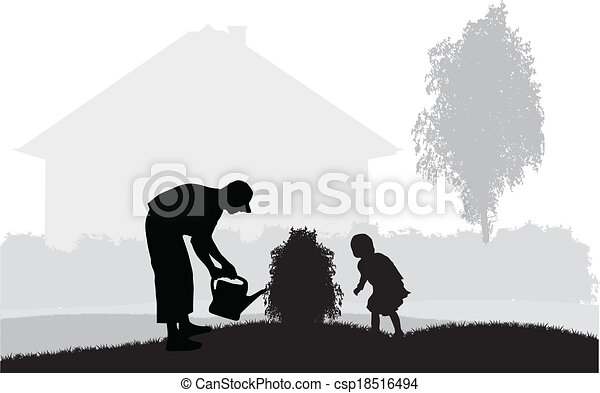 Father and daughter in the garden - csp18516494