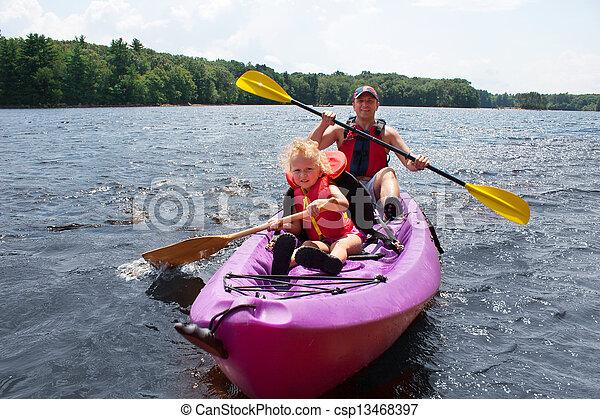 Father and daughter kayaking - csp13468397