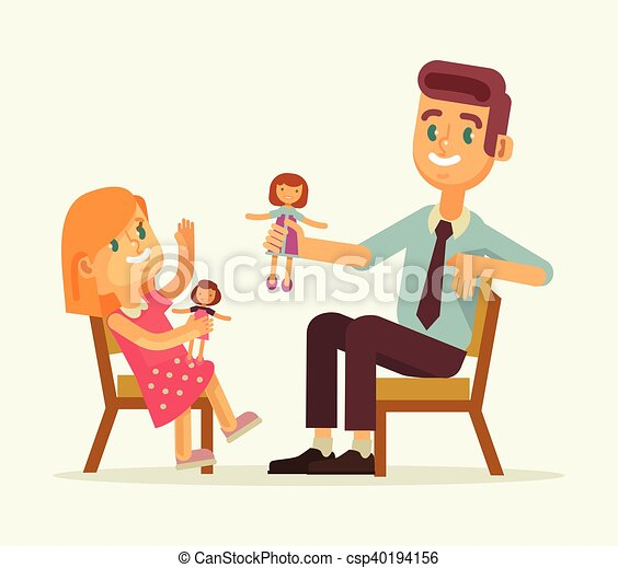 father and daughter play dolls vector flat cartoon clipart rh canstockphoto com father and daughter dancing clipart father and daughter bonding clipart