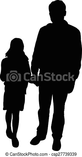 Father and daughter together, silhouette vector.