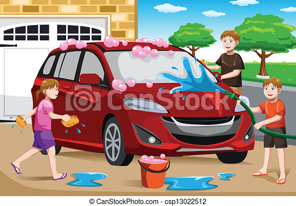 Father and his kids washing car - csp13022512