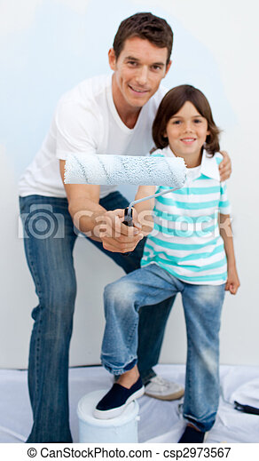 Father and his son paiting a room  - csp2973567