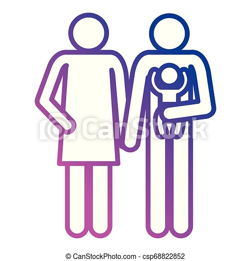 father and mother with baby silhouettes - csp68822852