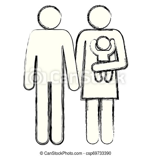 father and mother with baby silhouettes - csp69733390