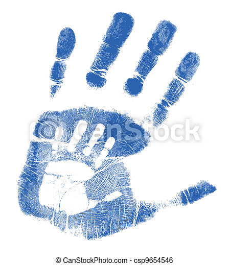 Father and son handprints  - csp9654546