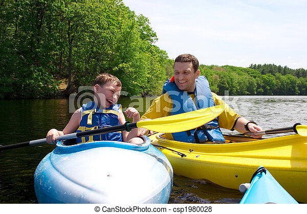 Father and son kayaking - csp1980028
