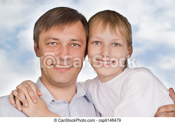 father and son on a white  - csp6148479