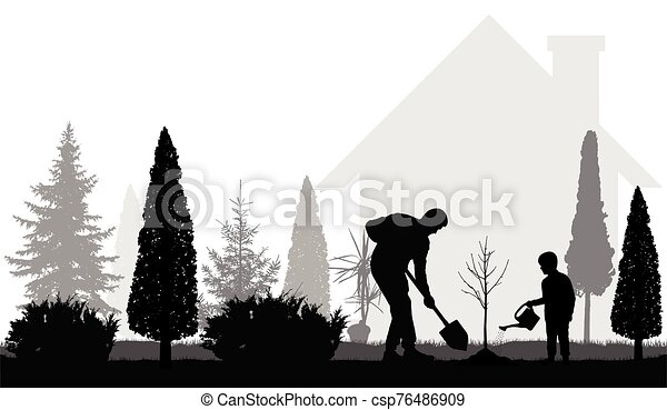 Father and son plant tree near the house in the garden silhouettes. Vector illustration - csp76486909