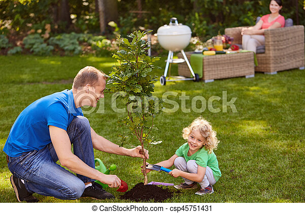 Father and son planting tree - csp45751431