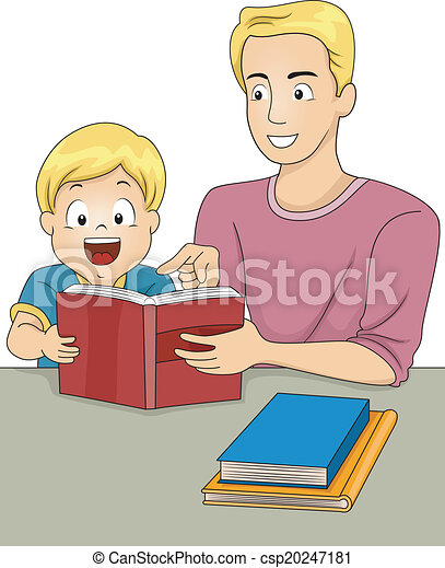 Father and Son Reading Books - csp20247181