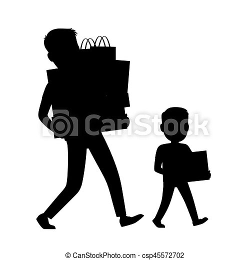 Father and Son Silhouettes Carrying Purchases - csp45572702