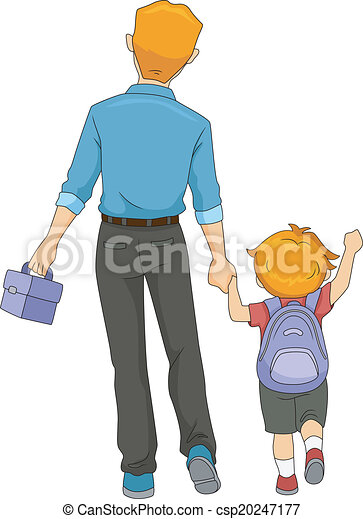 Father and Son Walking to School - csp20247177