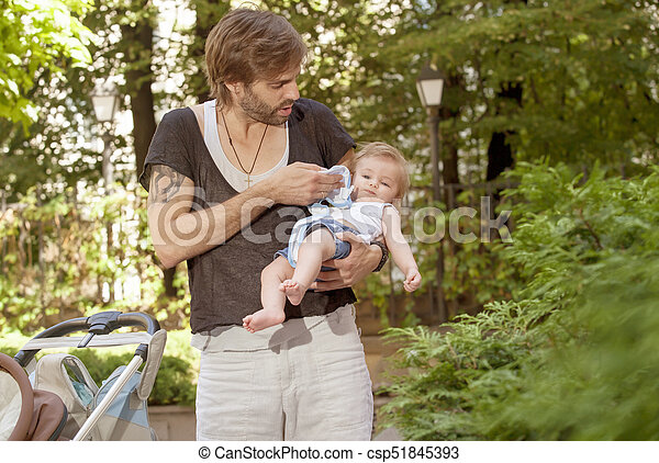 Father Care Baby - csp51845393