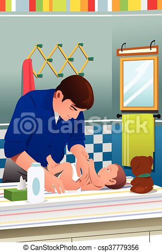 Father Changing a Diaper - csp37779356