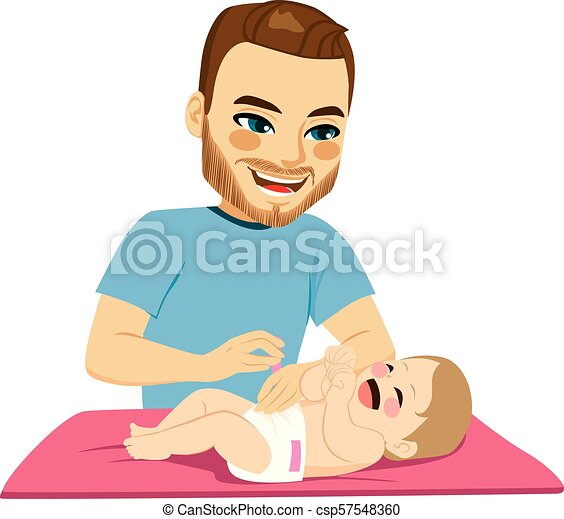 Father Changing Diaper - csp57548360