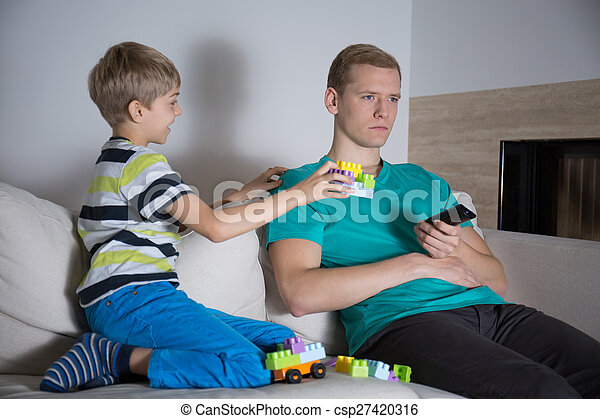 Father don't pay attention to son - csp27420316