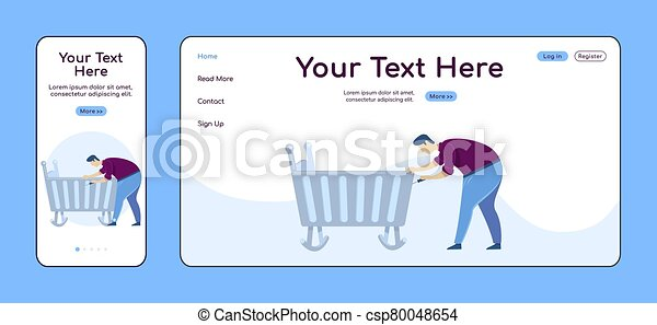 Father fixing cradle adaptive landing page flat color vector template. Handyman mobile and PC homepage layout. Repairman one page website UI. Home repairs webpage cross platform design - csp80048654
