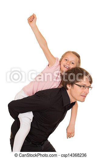 Father giving piggyback ride to his daughter - csp14368236